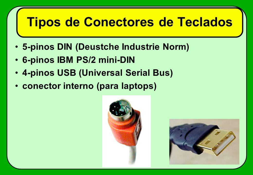 Tipos de Conectores de Teclados 5-pinos DIN (Deustche Industrie Norm) 6-pinos IBM PS/2 mini-DIN 4-pinos USB (Universal Serial Bus) conector interno (p