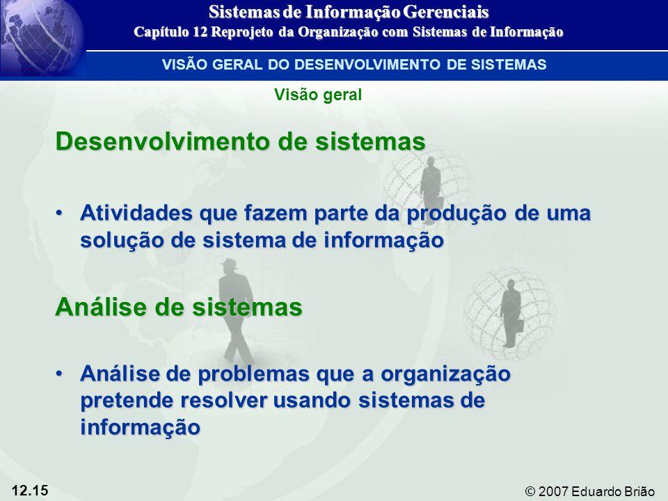 12.15 © 2007 Eduardo Brião Desenvolvimento de sistemas Atividades que fazem parte da produção de uma solução de sistema de informaçãoAtividades que fa