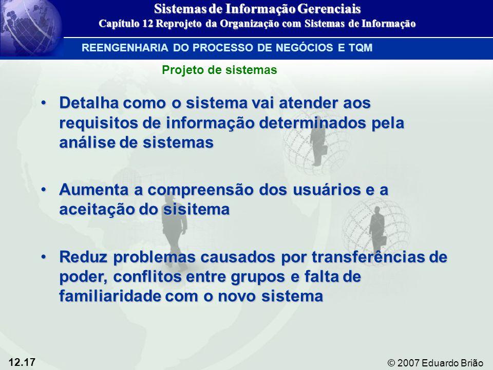 12.17 © 2007 Eduardo Brião Detalha como o sistema vai atender aos requisitos de informação determinados pela análise de sistemasDetalha como o sistema