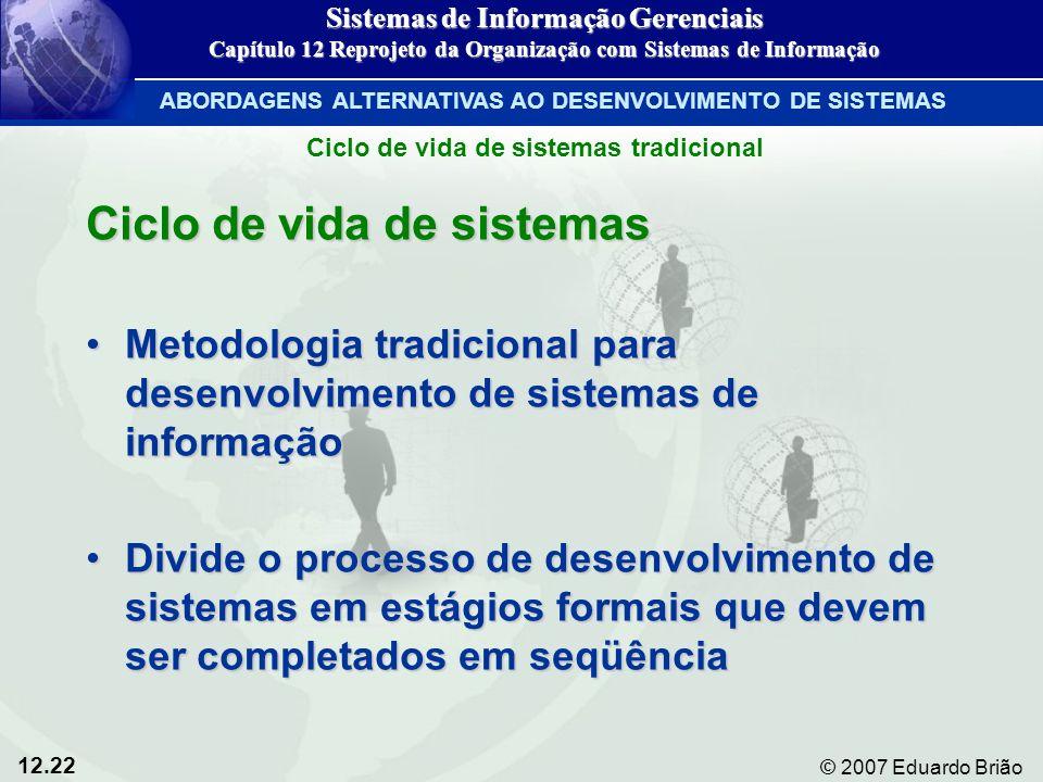 12.22 © 2007 Eduardo Brião Ciclo de vida de sistemas Metodologia tradicional para desenvolvimento de sistemas de informaçãoMetodologia tradicional par