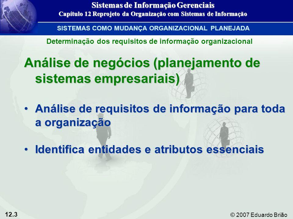 12.3 © 2007 Eduardo Brião Análise de negócios (planejamento de sistemas empresariais) Análise de requisitos de informação para toda a organizaçãoAnálise de requisitos de informação para toda a organização Identifica entidades e atributos essenciaisIdentifica entidades e atributos essenciais Determinação dos requisitos de informação organizacional Sistemas de Informação Gerenciais Capítulo 12 Reprojeto da Organização com Sistemas de Informação SISTEMAS COMO MUDANÇA ORGANIZACIONAL PLANEJADA