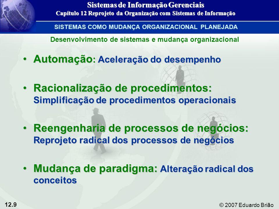 12.10 © 2007 Eduardo Brião Toda mudança organizacional traz consigo riscos e recompensas Figura 12-3 Sistemas de Informação Gerenciais Capítulo 12 Reprojeto da Organização com Sistemas de Informação SISTEMAS COMO MUDANÇA ORGANIZACIONAL PLANEJADA