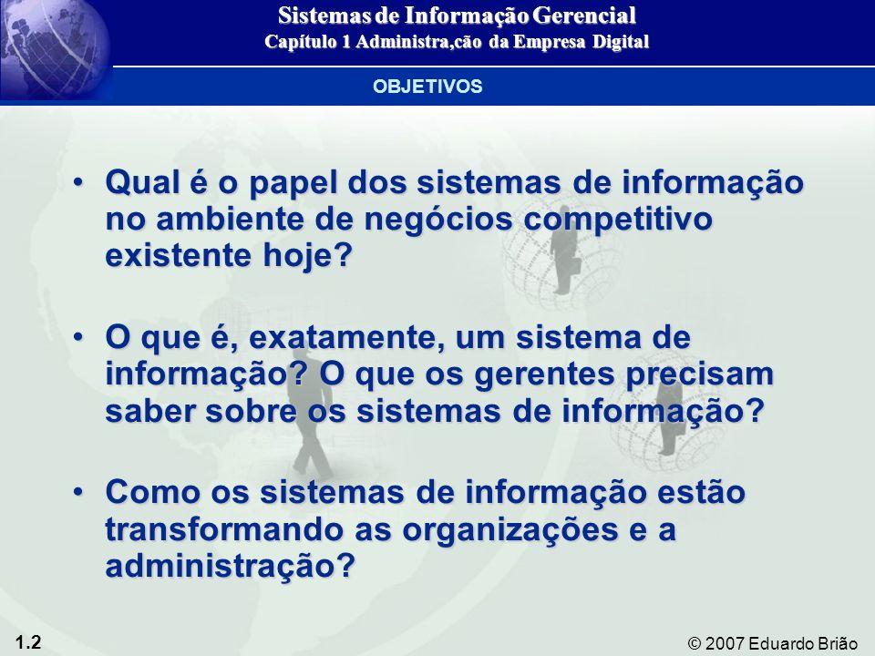 1.2 © 2007 Eduardo Brião Qual é o papel dos sistemas de informação no ambiente de negócios competitivo existente hoje Qual é o papel dos sistemas de informação no ambiente de negócios competitivo existente hoje.