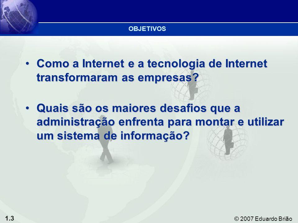 1.3 © 2007 Eduardo Brião Como a Internet e a tecnologia de Internet transformaram as empresas Como a Internet e a tecnologia de Internet transformaram as empresas.
