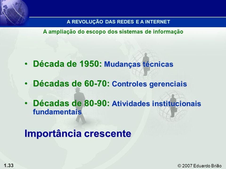 1.33 © 2007 Eduardo Brião Década de 1950: Mudanças técnicasDécada de 1950: Mudanças técnicas Décadas de 60-70: Controles gerenciaisDécadas de 60-70: Controles gerenciais Décadas de 80-90: Atividades institucionais fundamentaisDécadas de 80-90: Atividades institucionais fundamentais Importância crescente A REVOLUÇÃO DAS REDES E A INTERNET A ampliação do escopo dos sistemas de informação