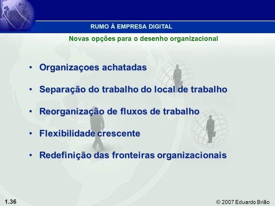 1.36 © 2007 Eduardo Brião Organizaçoes achatadasOrganizaçoes achatadas Separação do trabalho do local de trabalhoSeparação do trabalho do local de trabalho Reorganização de fluxos de trabalhoReorganização de fluxos de trabalho Flexibilidade crescenteFlexibilidade crescente Redefinição das fronteiras organizacionaisRedefinição das fronteiras organizacionais Novas opções para o desenho organizacional RUMO À EMPRESA DIGITAL