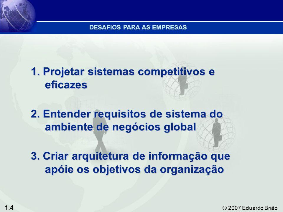 1.4 © 2007 Eduardo Brião 1. Projetar sistemas competitivos e eficazes 2.