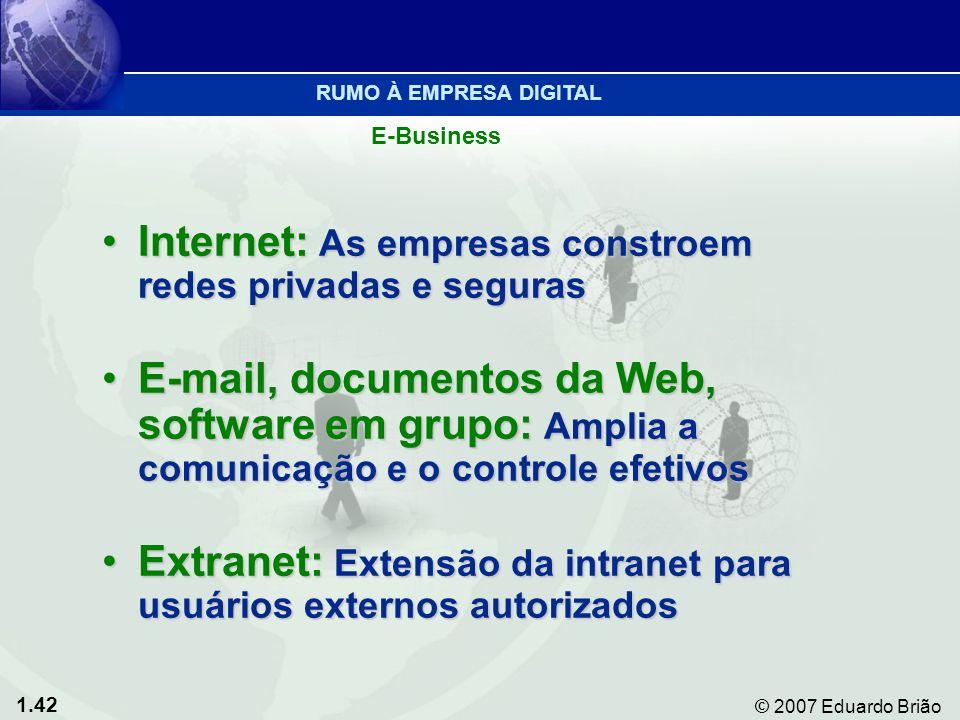 1.42 © 2007 Eduardo Brião Internet: As empresas constroem redes privadas e segurasInternet: As empresas constroem redes privadas e seguras E-mail, documentos da Web, software em grupo: Amplia a comunicação e o controle efetivosE-mail, documentos da Web, software em grupo: Amplia a comunicação e o controle efetivos Extranet: Extensão da intranet para usuários externos autorizadosExtranet: Extensão da intranet para usuários externos autorizados E-Business RUMO À EMPRESA DIGITAL