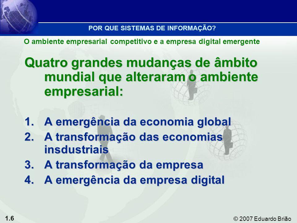 1.6 © 2007 Eduardo Brião O ambiente empresarial competitivo e a empresa digital emergente POR QUE SISTEMAS DE INFORMAÇÃO.