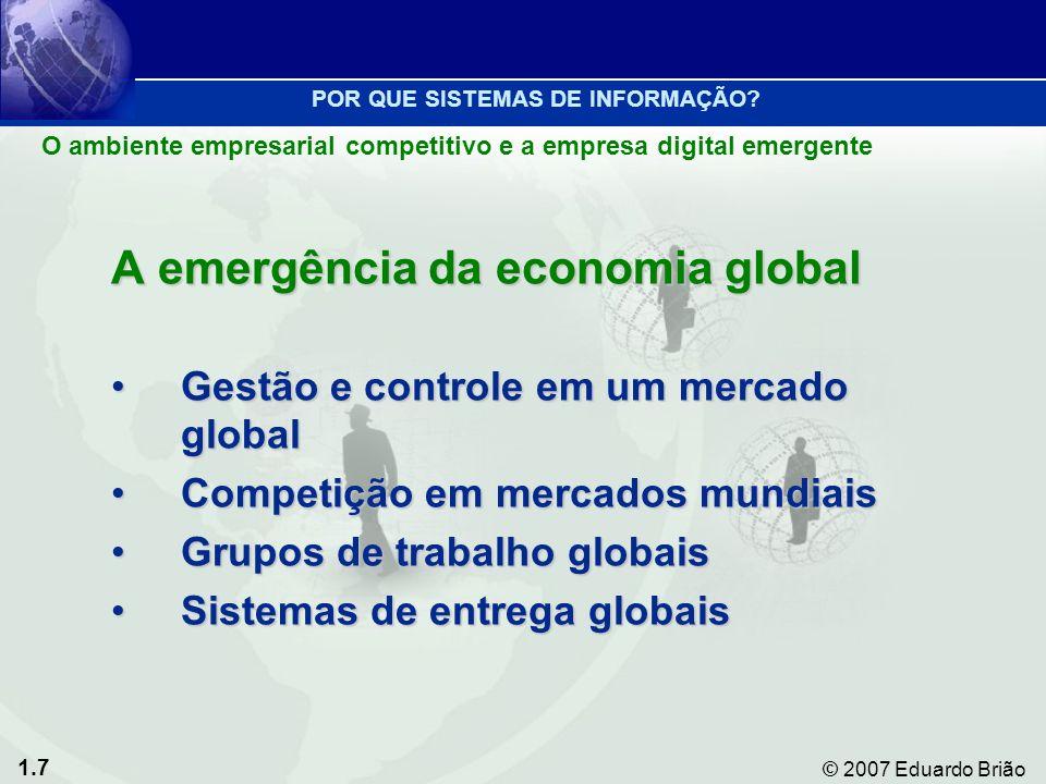 1.7 © 2007 Eduardo Brião A emergência da economia global Gestão e controle em um mercado globalGestão e controle em um mercado global Competição em mercados mundiaisCompetição em mercados mundiais Grupos de trabalho globaisGrupos de trabalho globais Sistemas de entrega globaisSistemas de entrega globais POR QUE SISTEMAS DE INFORMAÇÃO.
