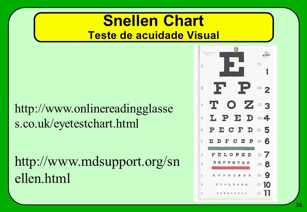 36 Snellen Chart Teste de acuidade Visual http://www.mdsupport.org/sn ellen.html http://www.onlinereadingglasse s.co.uk/eyetestchart.html