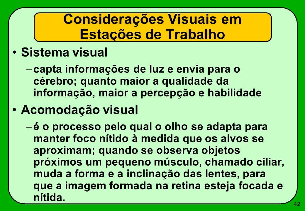 42 Considerações Visuais em Estações de Trabalho Sistema visual –capta informações de luz e envia para o cérebro; quanto maior a qualidade da informaç