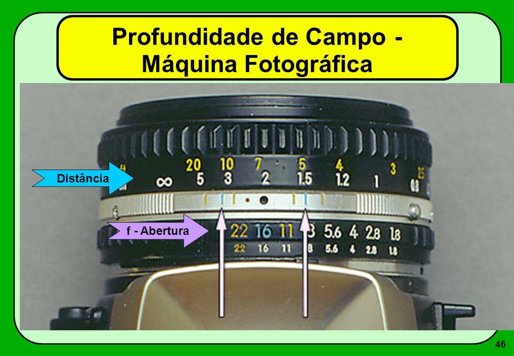 46 Profundidade de Campo - Máquina Fotográfica f - Abertura Distância