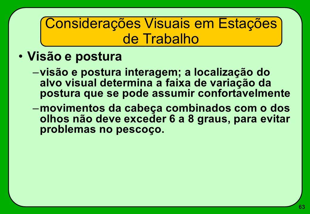 63 Visão e postura –visão e postura interagem; a localização do alvo visual determina a faixa de variação da postura que se pode assumir confortavelme