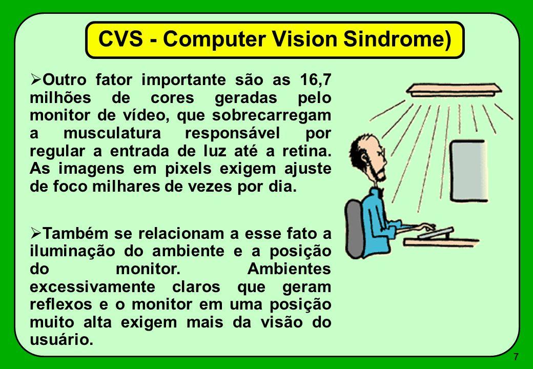 7 Outro fator importante são as 16,7 milhões de cores geradas pelo monitor de vídeo, que sobrecarregam a musculatura responsável por regular a entrada