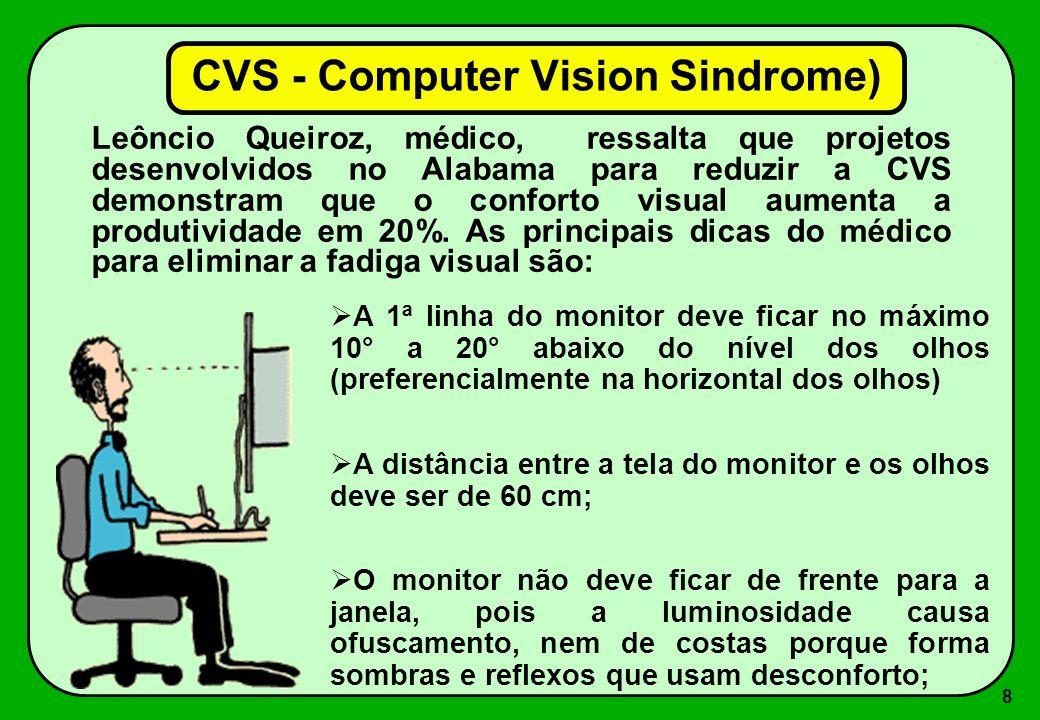 8 A 1ª linha do monitor deve ficar no máximo 10° a 20° abaixo do nível dos olhos (preferencialmente na horizontal dos olhos) A distância entre a tela