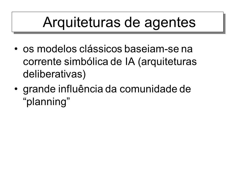 Arquiteturas de agentes os modelos clássicos baseiam-se na corrente simbólica de IA (arquiteturas deliberativas) grande influência da comunidade de pl
