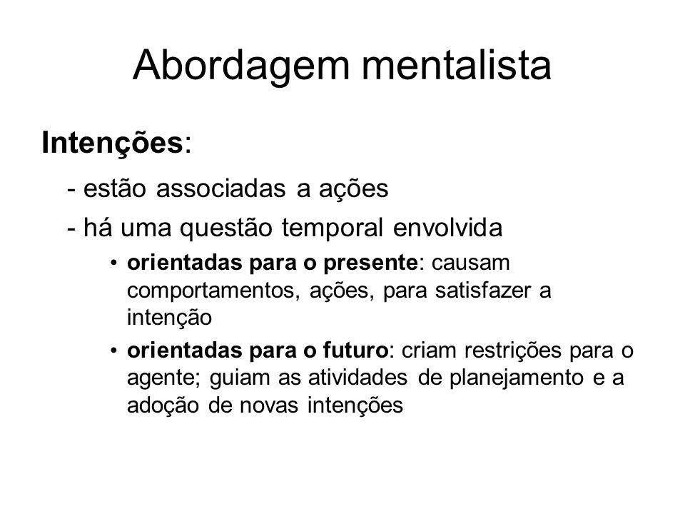Abordagem mentalista Intenções: - estão associadas a ações - há uma questão temporal envolvida orientadas para o presente: causam comportamentos, açõe