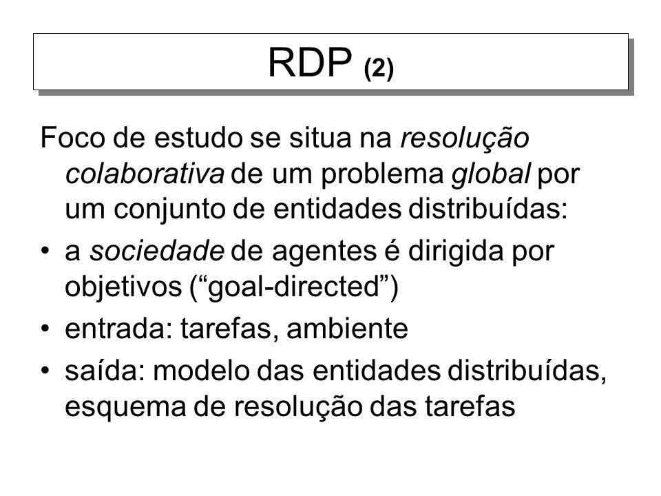 RDP (2) Foco de estudo se situa na resolução colaborativa de um problema global por um conjunto de entidades distribuídas: a sociedade de agentes é di