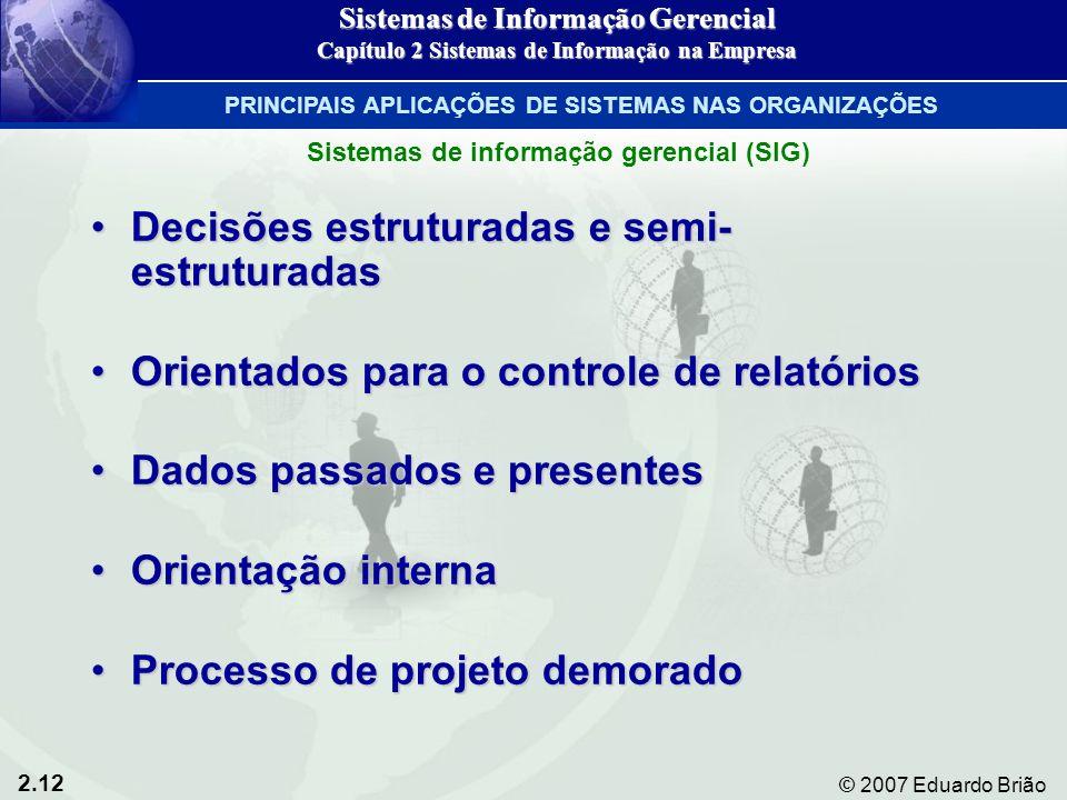 2.12 © 2007 Eduardo Brião Decisões estruturadas e semi- estruturadasDecisões estruturadas e semi- estruturadas Orientados para o controle de relatório