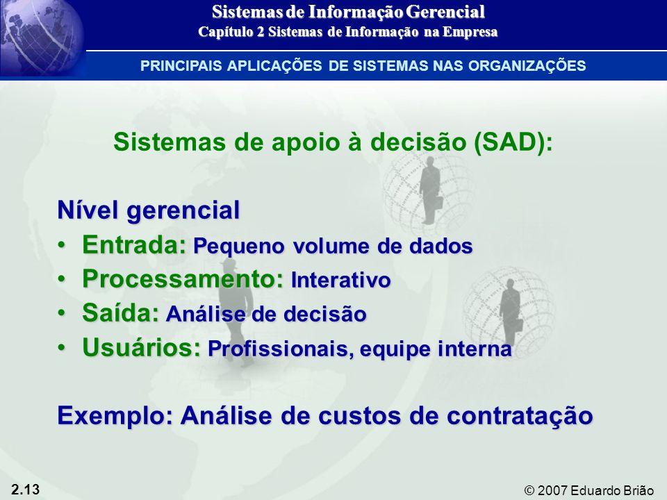 2.13 © 2007 Eduardo Brião Sistemas de apoio à decisão (SAD): Nível gerencial Entrada: Pequeno volume de dadosEntrada: Pequeno volume de dados Processa