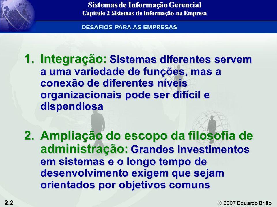 2.13 © 2007 Eduardo Brião Sistemas de apoio à decisão (SAD): Nível gerencial Entrada: Pequeno volume de dadosEntrada: Pequeno volume de dados Processamento: InterativoProcessamento: Interativo Saída: Análise de decisãoSaída: Análise de decisão Usuários: Profissionais, equipe internaUsuários: Profissionais, equipe interna Exemplo: Análise de custos de contratação Sistemas de Informação Gerencial Capítulo 2 Sistemas de Informação na Empresa PRINCIPAIS APLICAÇÕES DE SISTEMAS NAS ORGANIZAÇÕES