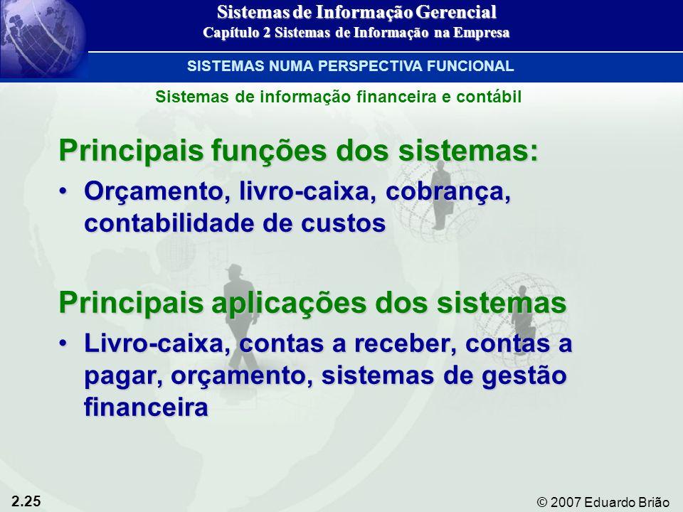 2.25 © 2007 Eduardo Brião Principais funções dos sistemas: Orçamento, livro-caixa, cobrança, contabilidade de custosOrçamento, livro-caixa, cobrança,