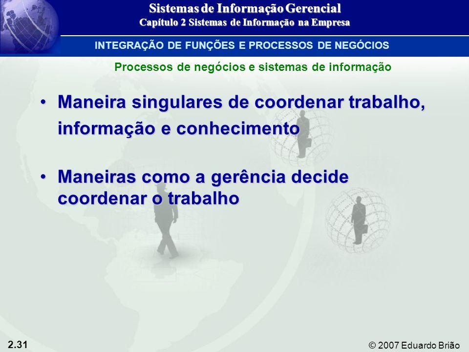 2.31 © 2007 Eduardo Brião Maneira singulares de coordenar trabalho,Maneira singulares de coordenar trabalho, informação e conhecimento Maneiras como a
