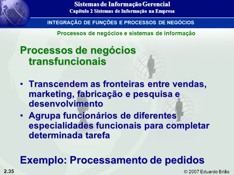 2.35 © 2007 Eduardo Brião Processos de negócios transfuncionais Transcendem as fronteiras entre vendas, marketing, fabricação e pesquisa e desenvolvim