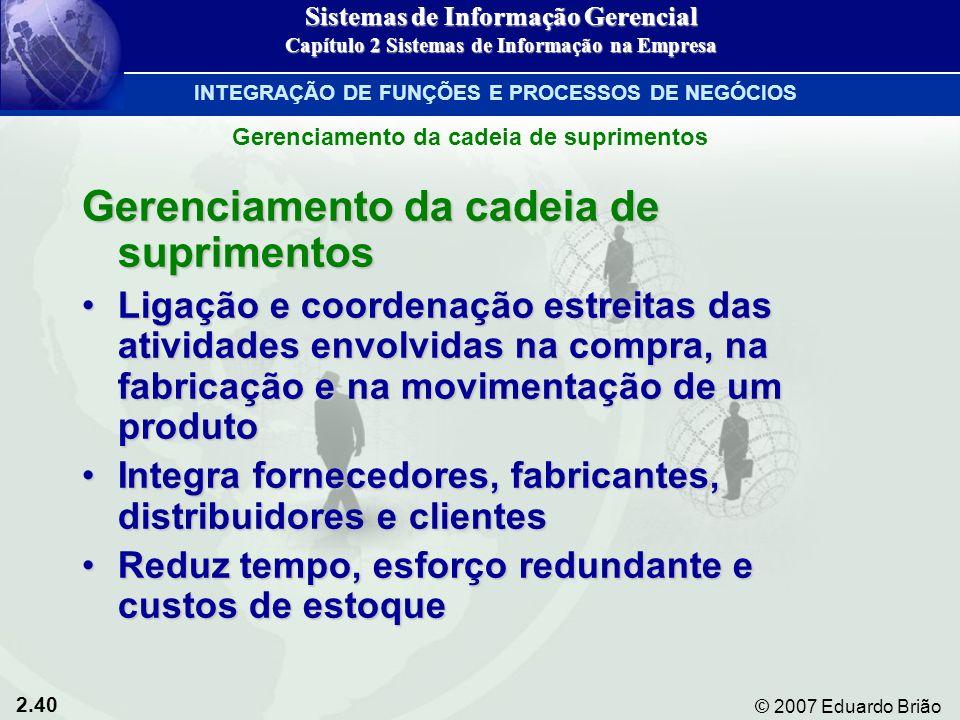 2.40 © 2007 Eduardo Brião Gerenciamento da cadeia de suprimentos Ligação e coordenação estreitas das atividades envolvidas na compra, na fabricação e