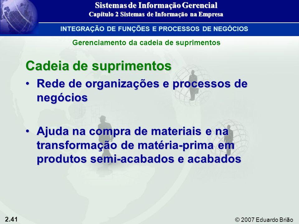 2.41 © 2007 Eduardo Brião Cadeia de suprimentos Rede de organizações e processos de negóciosRede de organizações e processos de negócios Ajuda na comp