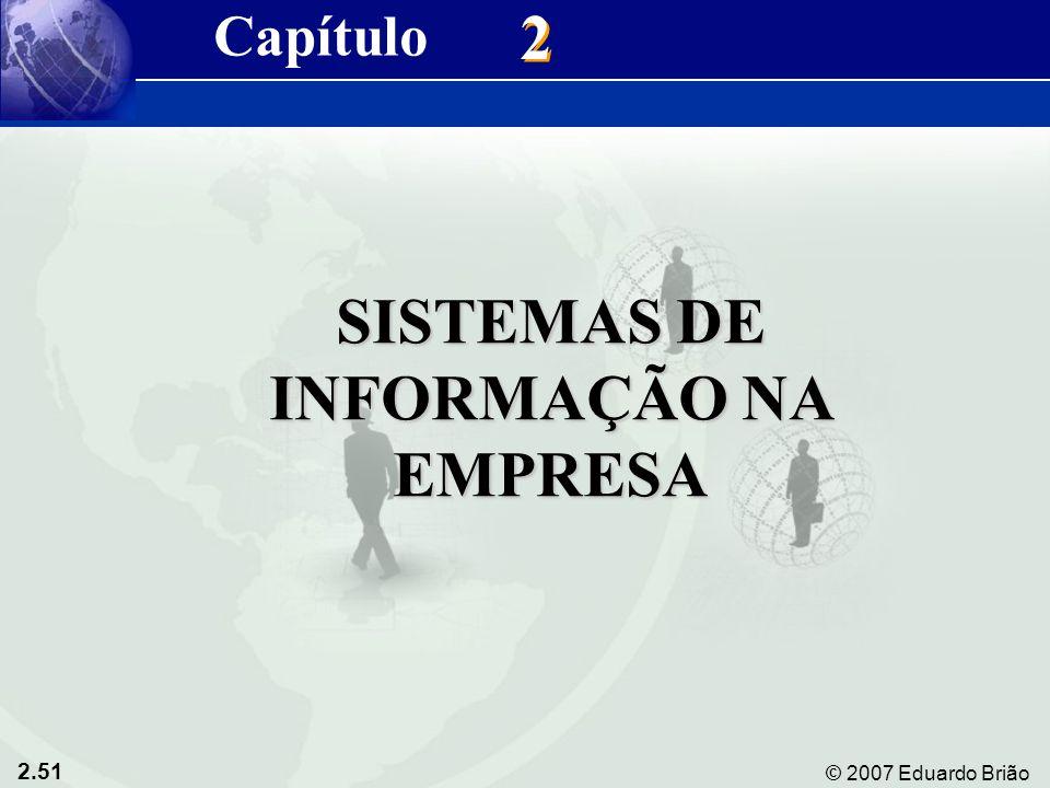 2.51 © 2007 Eduardo Brião 2 2 SISTEMAS DE INFORMAÇÃO NA EMPRESA Capítulo