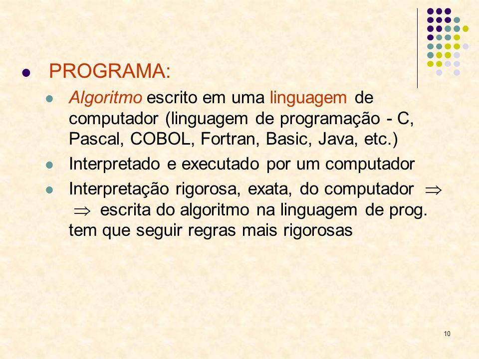 10 PROGRAMA: Algoritmo escrito em uma linguagem de computador (linguagem de programação - C, Pascal, COBOL, Fortran, Basic, Java, etc.) Interpretado e