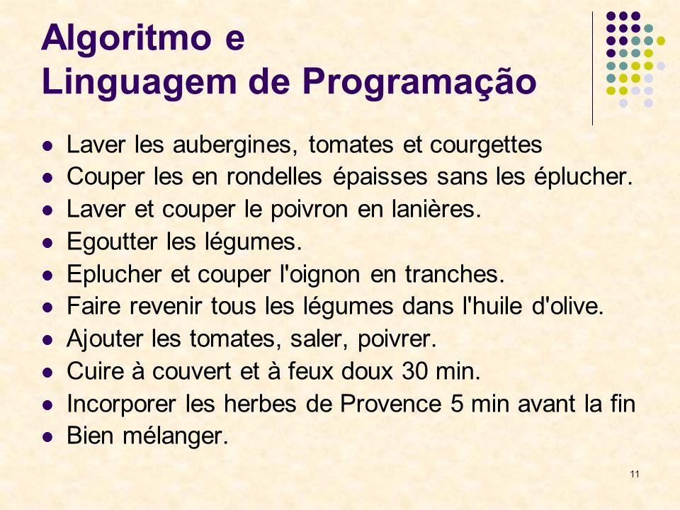 11 Algoritmo e Linguagem de Programação Laver les aubergines, tomates et courgettes Couper les en rondelles épaisses sans les éplucher. Laver et coupe