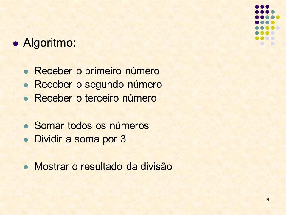 15 Algoritmo: Receber o primeiro número Receber o segundo número Receber o terceiro número Somar todos os números Dividir a soma por 3 Mostrar o resul