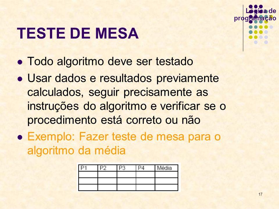 17 Lógica de programação TESTE DE MESA Todo algoritmo deve ser testado Usar dados e resultados previamente calculados, seguir precisamente as instruçõ