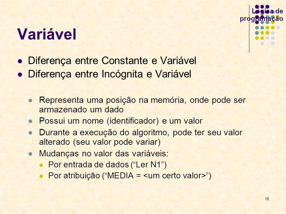 18 Lógica de programação Variável Diferença entre Constante e Variável Diferença entre Incógnita e Variável Representa uma posição na memória, onde po