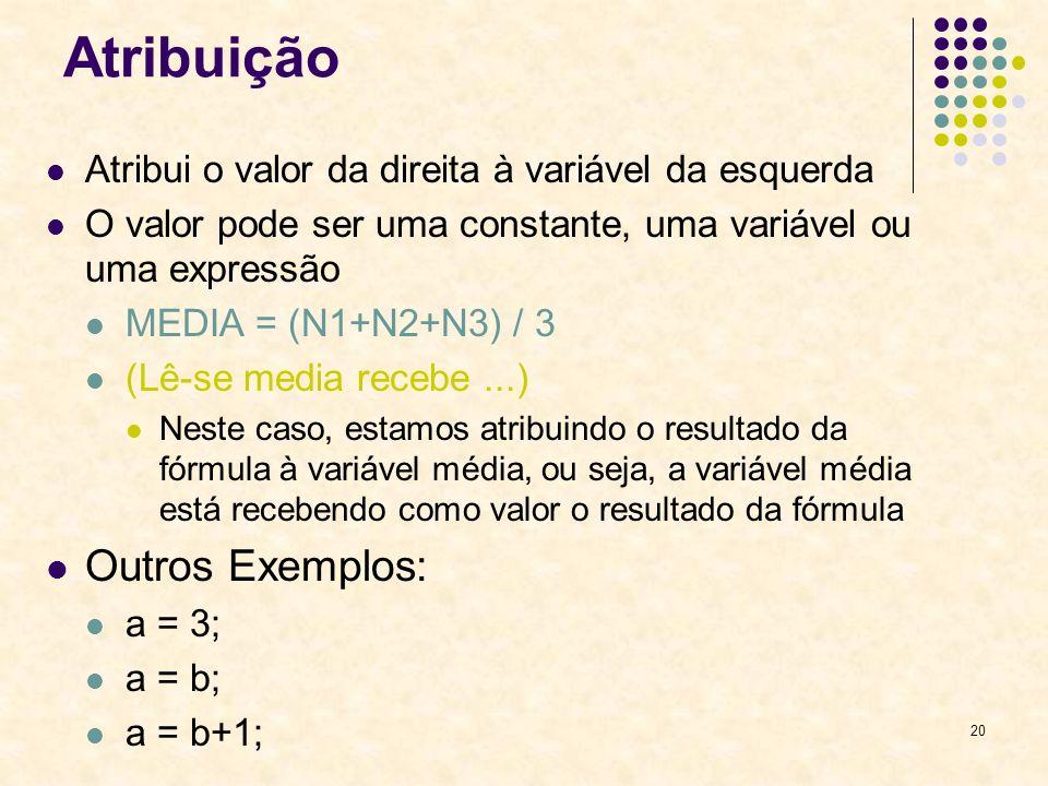 20 Atribuição Atribui o valor da direita à variável da esquerda O valor pode ser uma constante, uma variável ou uma expressão MEDIA = (N1+N2+N3) / 3 (
