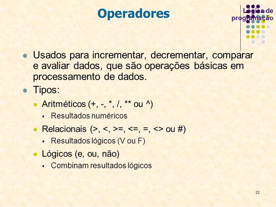 22 Usados para incrementar, decrementar, comparar e avaliar dados, que são operações básicas em processamento de dados. Tipos: Aritméticos (+, -, *, /