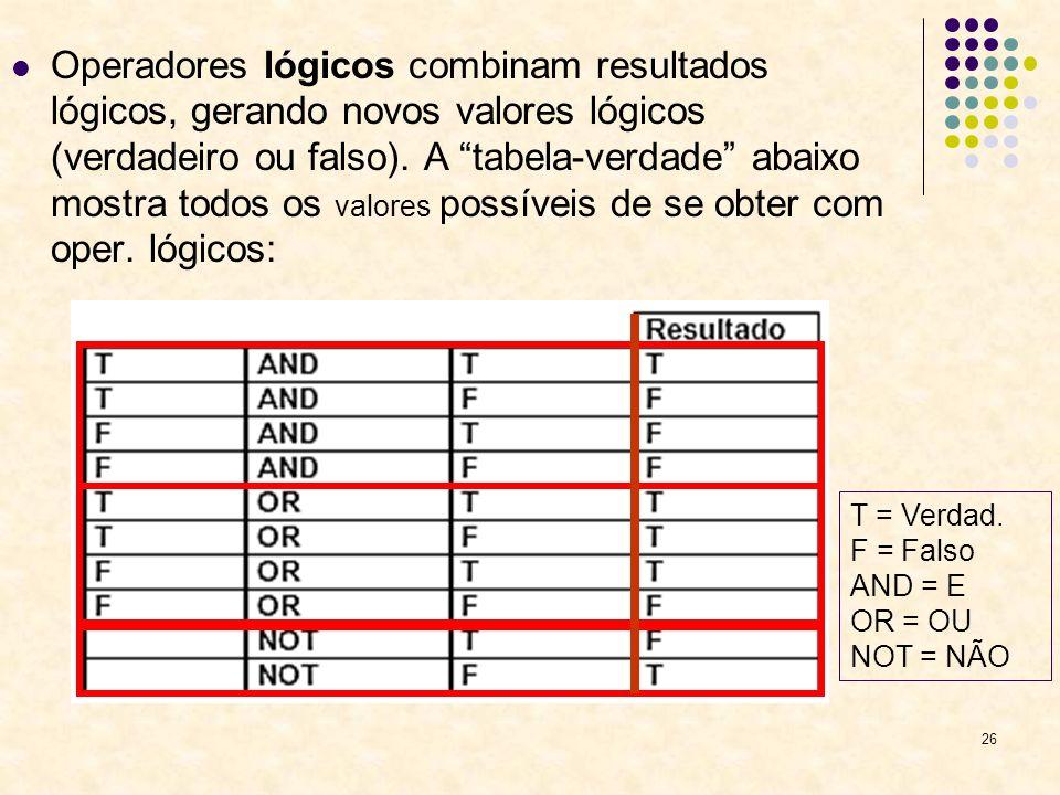 26 Operadores lógicos combinam resultados lógicos, gerando novos valores lógicos (verdadeiro ou falso). A tabela-verdade abaixo mostra todos os valore