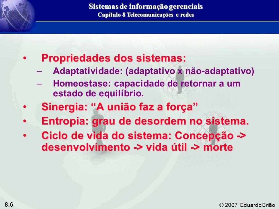 8.6 © 2007 Eduardo Brião Propriedades dos sistemas:Propriedades dos sistemas: –Adaptatividade: (adaptativo x não-adaptativo) –Homeostase: capacidade de retornar a um estado de equilíbrio.
