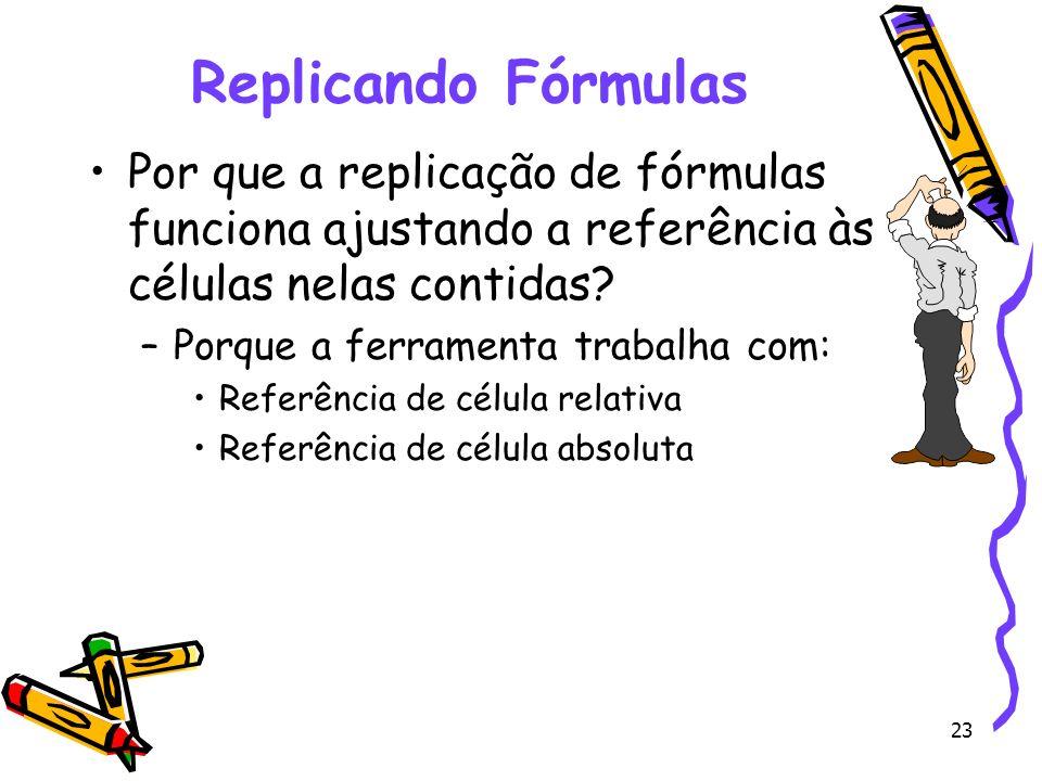 23 Replicando Fórmulas Por que a replicação de fórmulas funciona ajustando a referência às células nelas contidas? –Porque a ferramenta trabalha com: