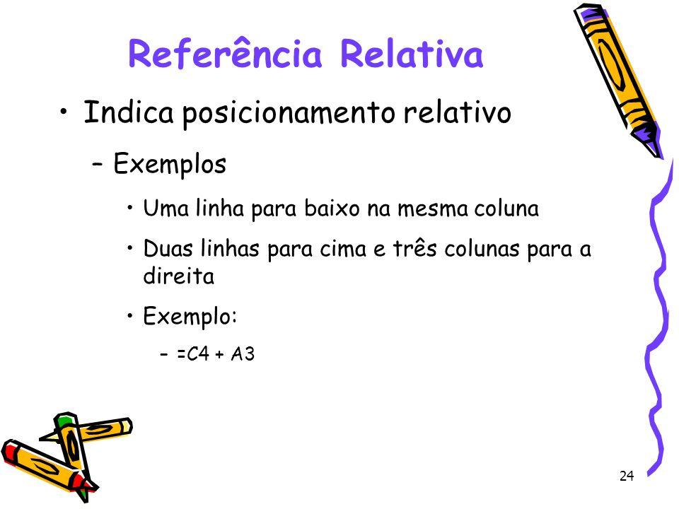 24 Referência Relativa Indica posicionamento relativo –Exemplos Uma linha para baixo na mesma coluna Duas linhas para cima e três colunas para a direi