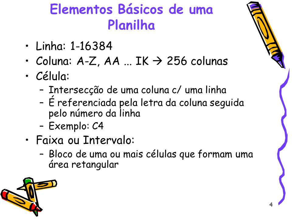 4 Elementos Básicos de uma Planilha Linha: 1-16384 Coluna: A-Z, AA... IK 256 colunas Célula: –Intersecção de uma coluna c/ uma linha –É referenciada p