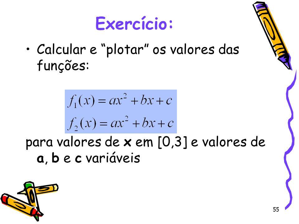 55 Exercício: Calcular e plotar os valores das funções: para valores de x em [0,3] e valores de a, b e c variáveis