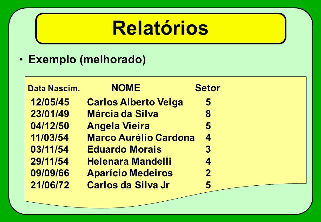 Relatórios Exemplo: Data Nascim.NOMESetor 12/5/45Carlos Alberto Veiga5 23/1/49Márcia da Silva8 4/12/50Angela Vieira5 11/3/54Marco Aurélio Cardona4 3/1