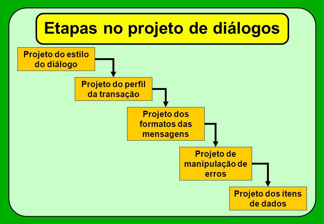Características de um bom diálogo Fácil de aprender Fácil de usar Fácil de adaptar e modificar Capacidade de detectar erros Eficiente Consistente Tuto