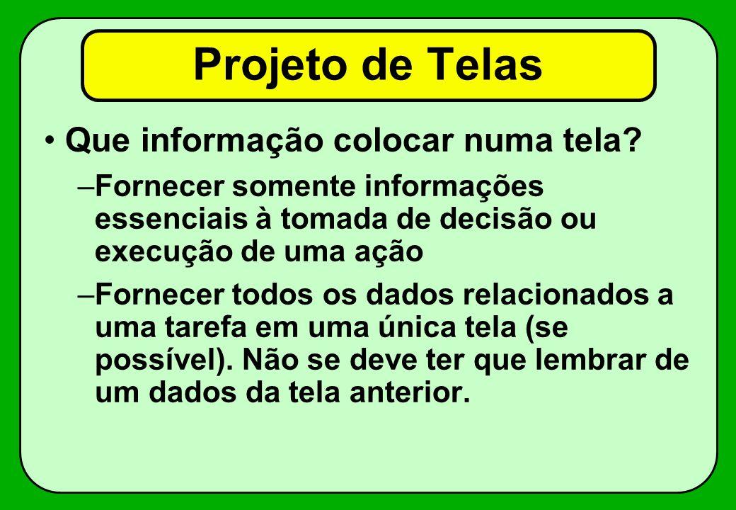 Projeto de Telas Que informação colocar numa tela.