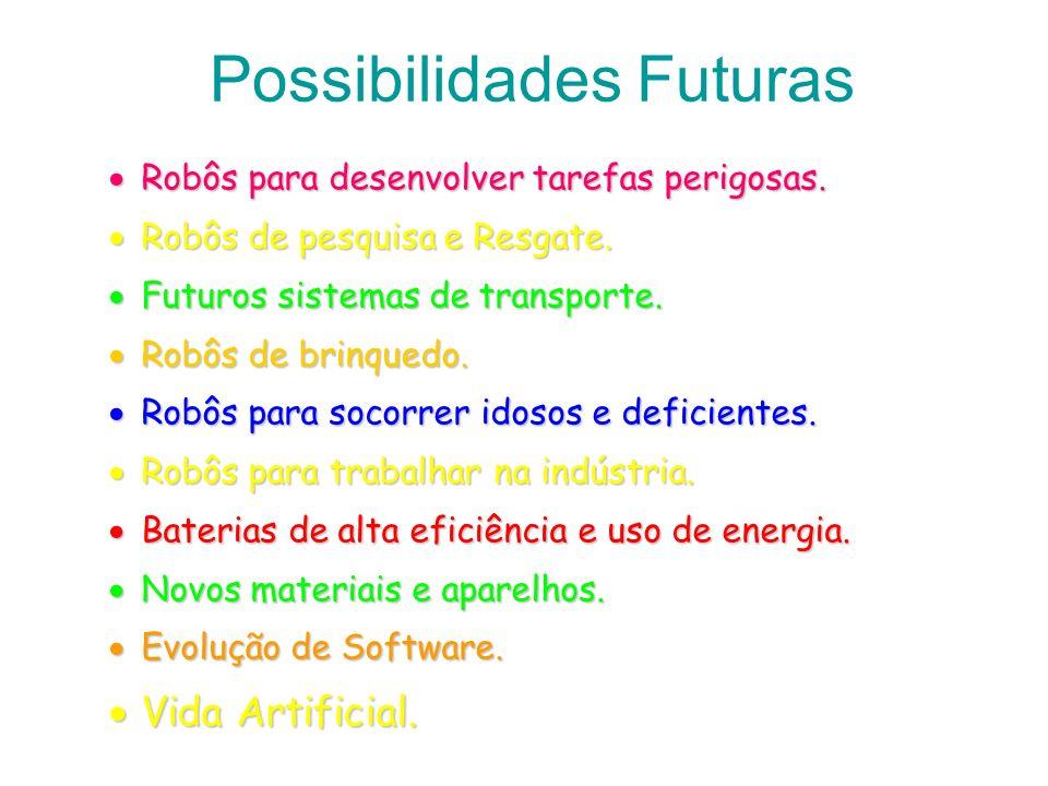 Possibilidades Futuras Robôs para desenvolver tarefas perigosas. Robôs para desenvolver tarefas perigosas. Robôs de pesquisa e Resgate. Robôs de pesqu
