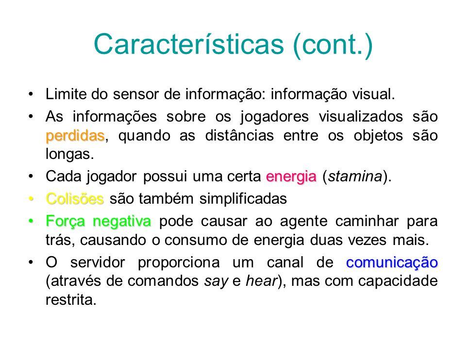 Características (cont.) Limite do sensor de informação: informação visual. perdidasAs informações sobre os jogadores visualizados são perdidas, quando
